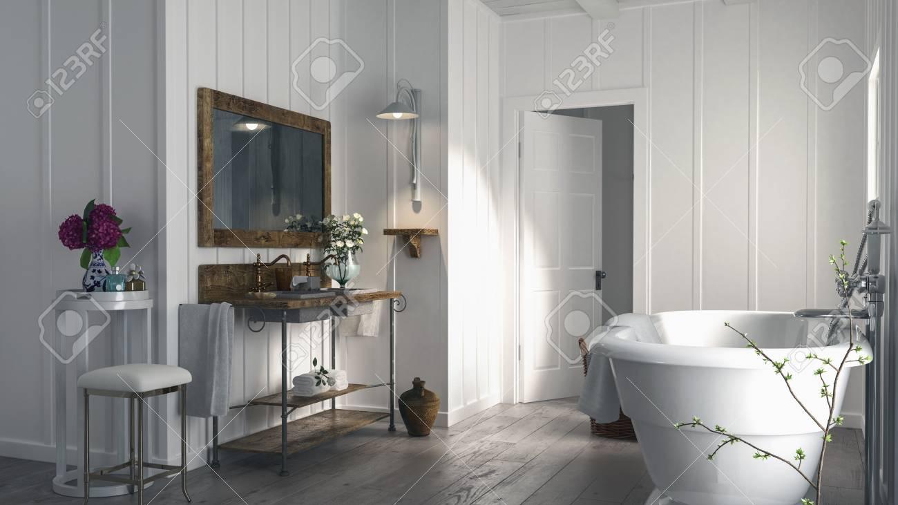 Standard Bild   Stilvolles Modernes Bad In Einem Holzgetäfelten Haus Mit  Einem Rustikalen Alten Holzboden, Ovaler Badewanne Und Einfacher Eitelkeit  Mit ...
