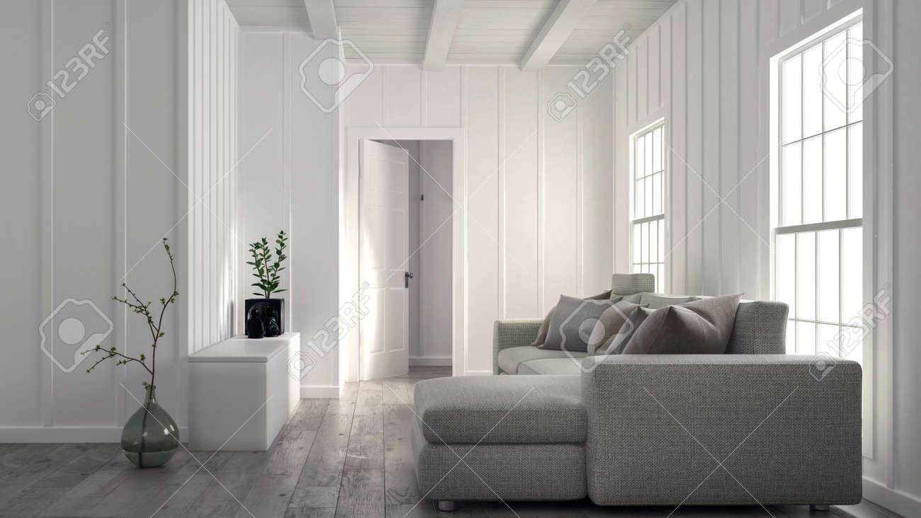 Minimalist Helle Weiße Wohnzimmer Innenraum Mit Holz Getäfelten Wand Und  Ein Großes Bequemes Sofa Vor Doppelten