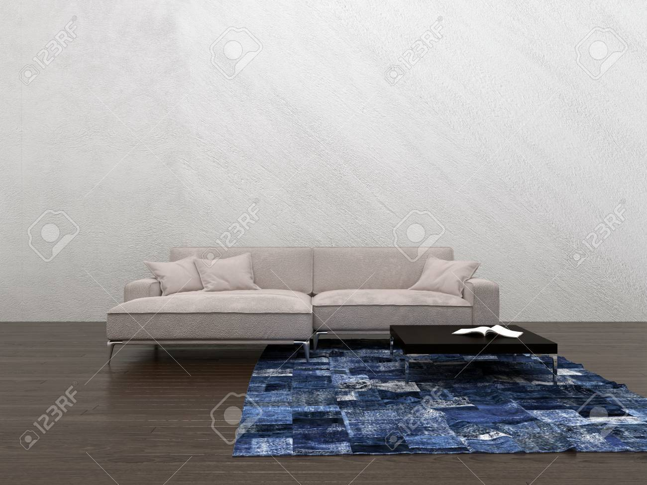 Large Generic Modular Couch In A Minimalist Living Room Interior ...