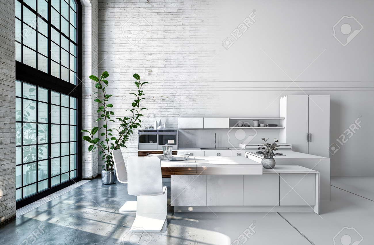 compact office kitchen modern kitchen. Compact Modern White Open-plan Kitchen Interior With Fitted Cabinets, Appliances And Bar Counter Office