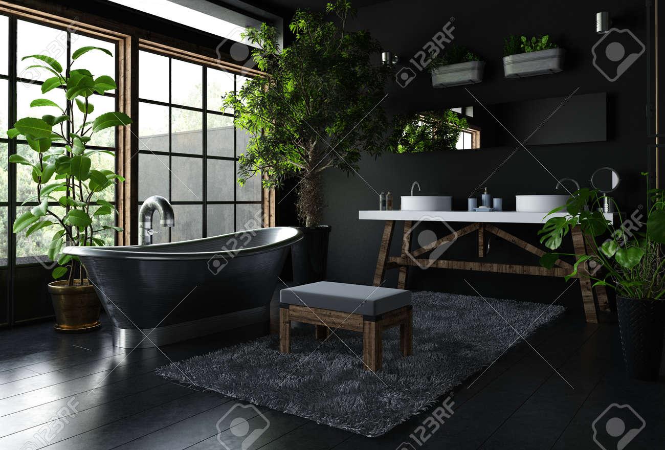 Interior Of Fancy Bathroom In Black Color, With Shiny Metal ...
