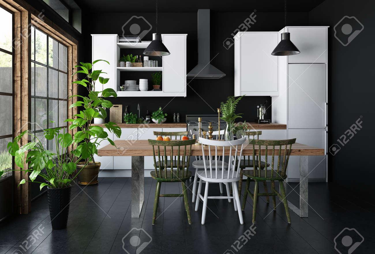 Fußboden Küche ~ Geräumiges dunkles innenkonzept der küche mit speisetisch