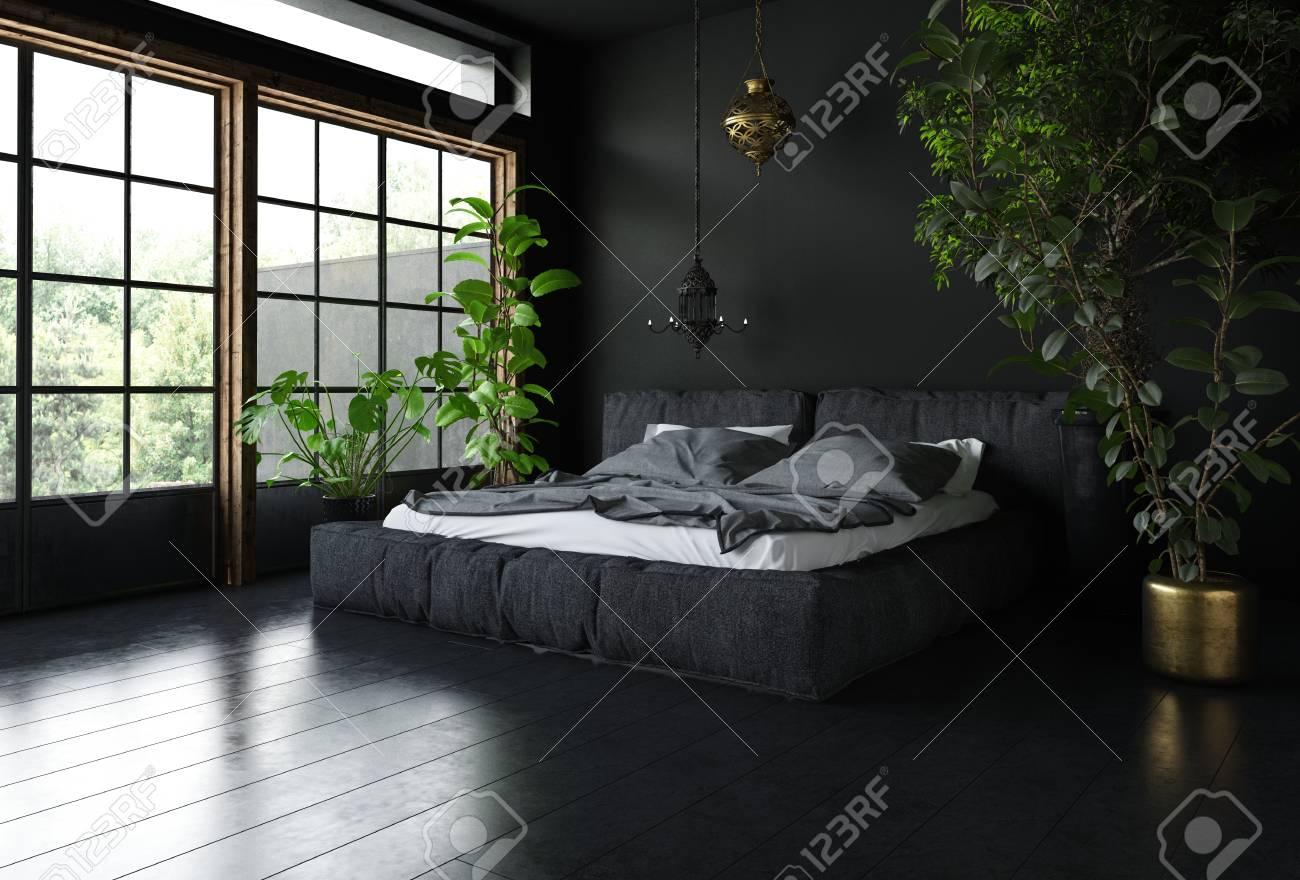 . Bedroom in black style with dark interior design  huge wide windows