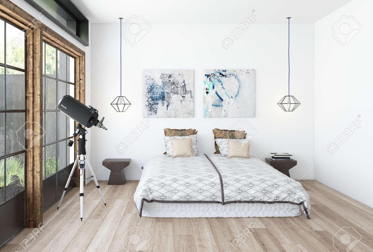 Modernes Schlafzimmer Interieur Mit Einem Teleskop Vor Einem Großen ...