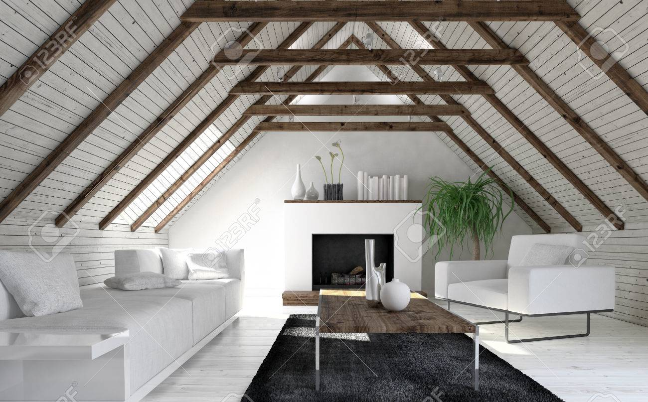 Attic Living Room In Minimalist Interior Design With White Sofa, Fireplace  And Coffee Table.