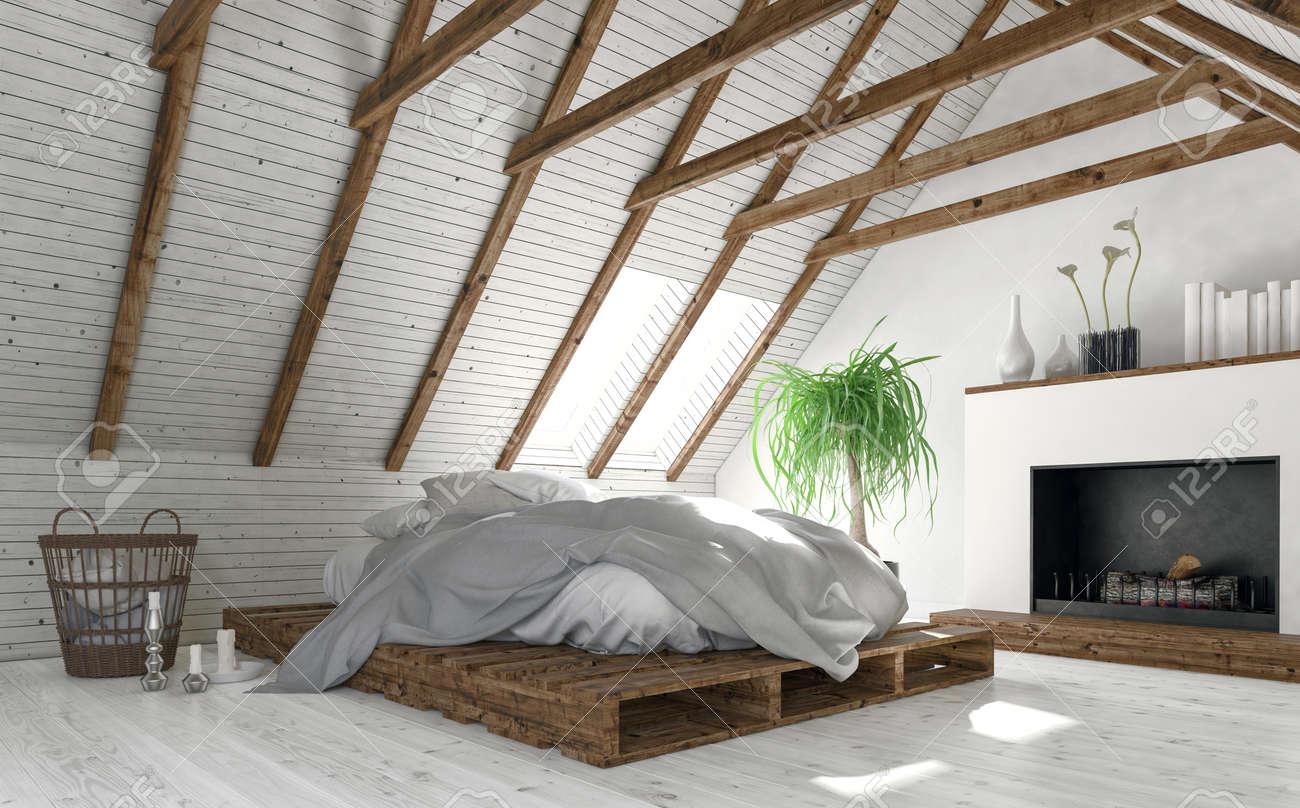 Fesselnde Bett Minimalistisch Dekoration Von Konzept Der Dachboden Schlafzimmer Mit Weißen Wänden