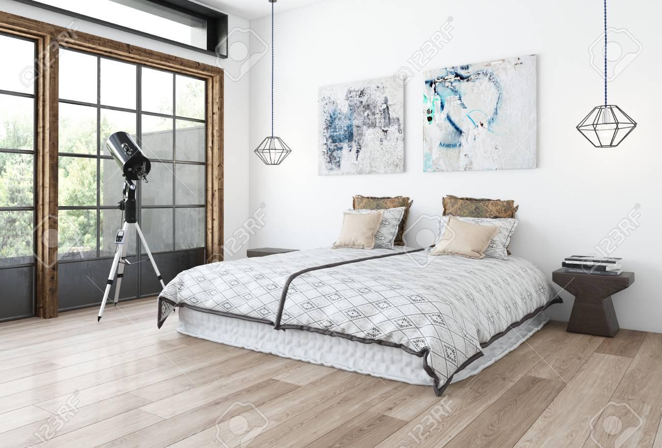 Concepto De Dormitorio De Diseño Minimalista Con Pared Blanca ...