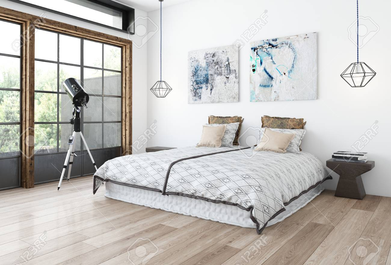 Minimalist Design Bedroom Concept With White Wall, Paintings And Wide Bed  On Wooden Floor And
