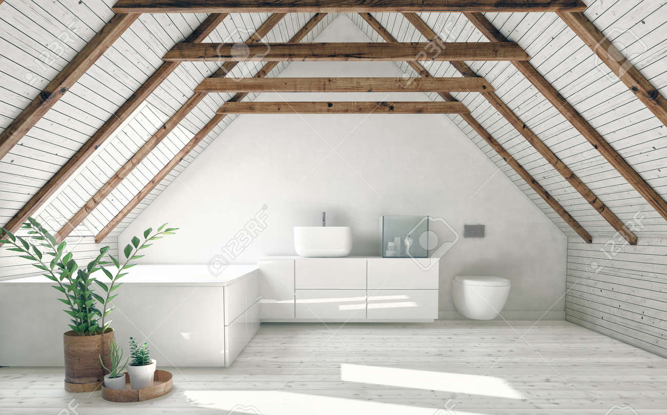Modern Bathroom With White Attic Walls Wooden Framework And