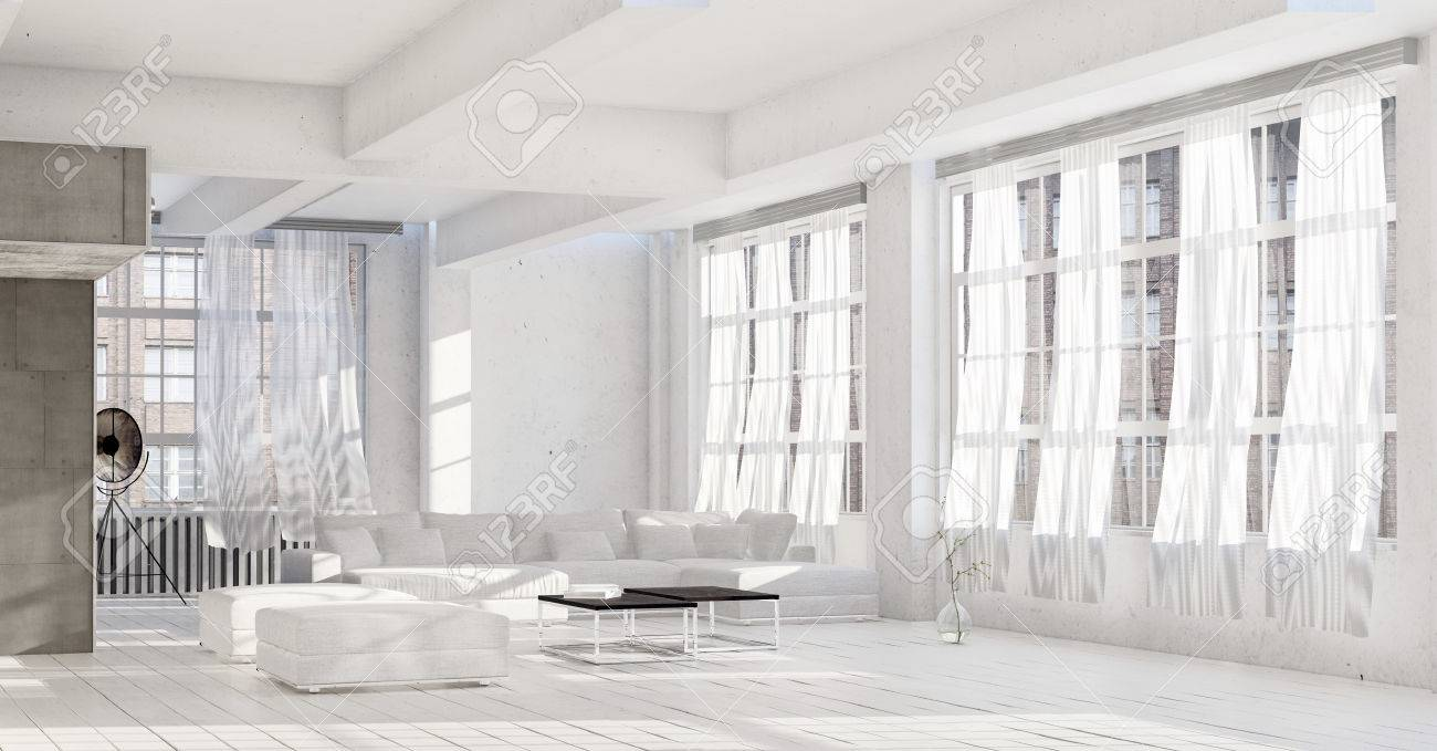 Bright White High Key Luxury Living Room Interior With Rows Of ...