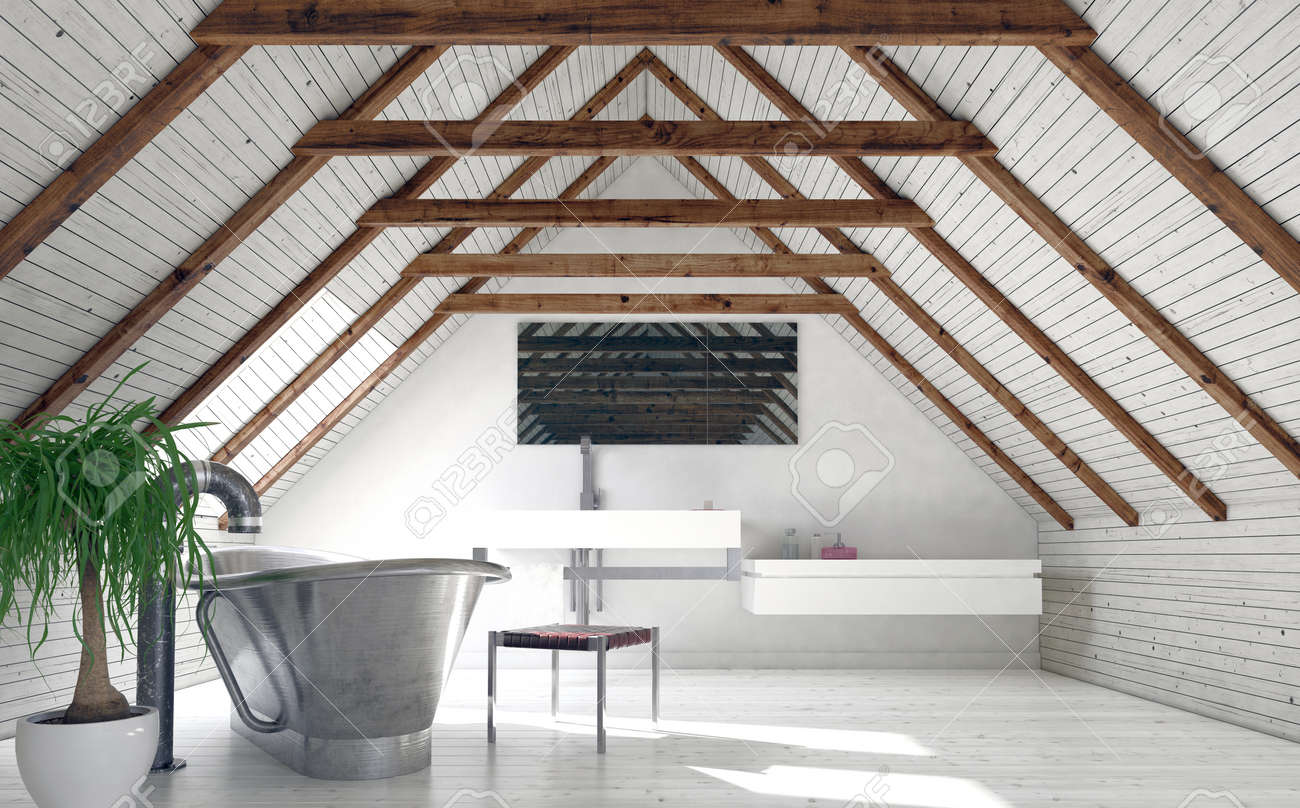 Modern monochromatic white loft bathroom in a converted attic