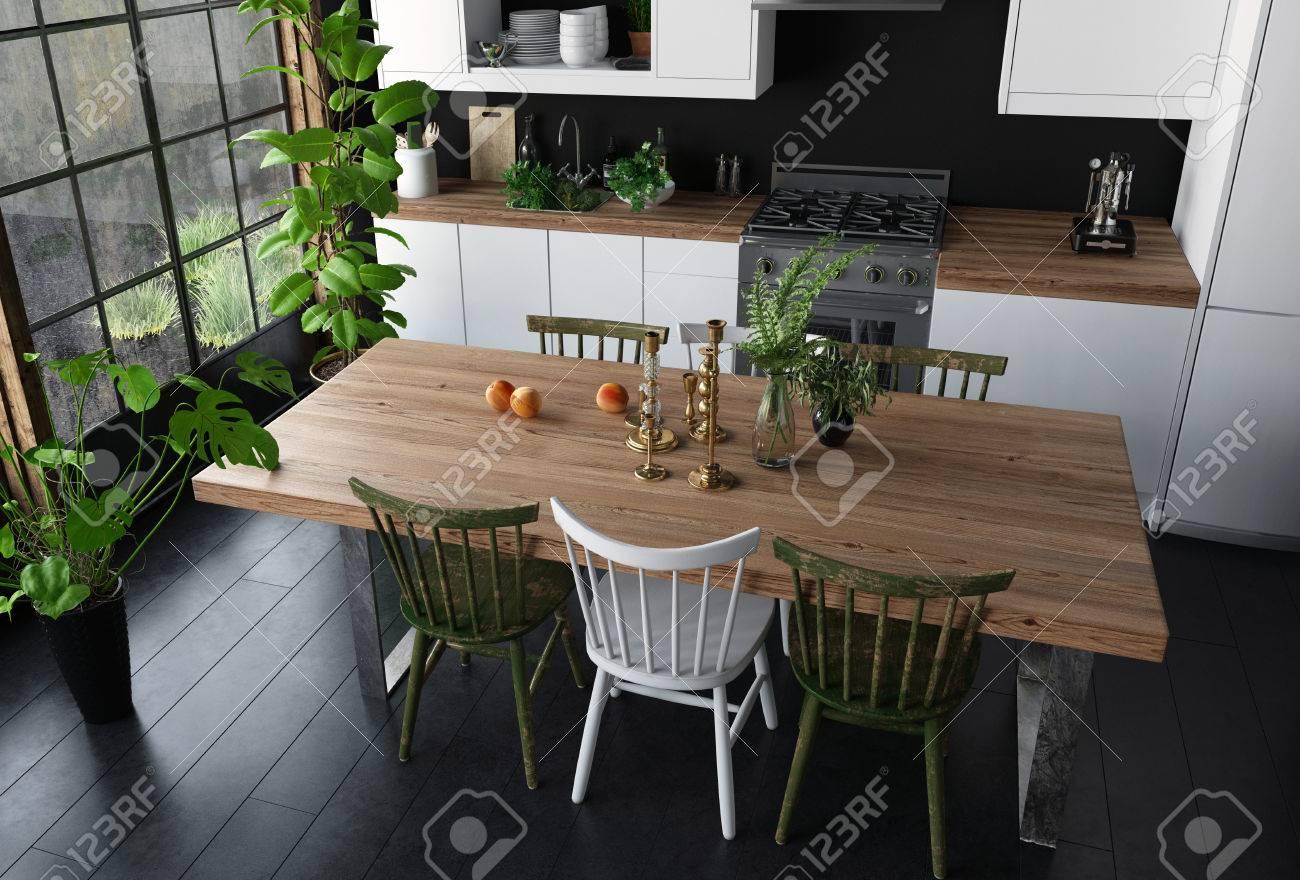 Mesa de comedor con superficie de madera y sillas en la cocina moderna  vista desde ángulo alto. Amplia ventana brillante, piso negro y plantas de  ...