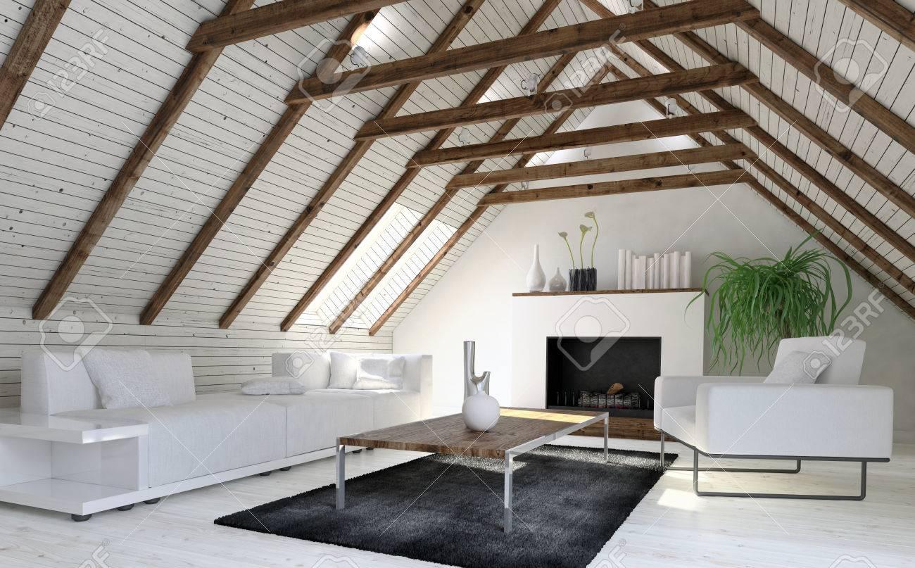 Cosy monochrome salon blanc ou den dans un grenier aménagé ou grenier avec  revêtement en bois sur la pente du toit et une cheminée à la fin. Rendu 3D