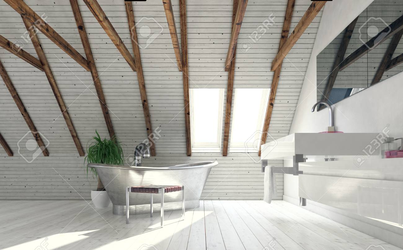 Vintage Metal Bath In Attic Bathroom Designed In Minimalist Style