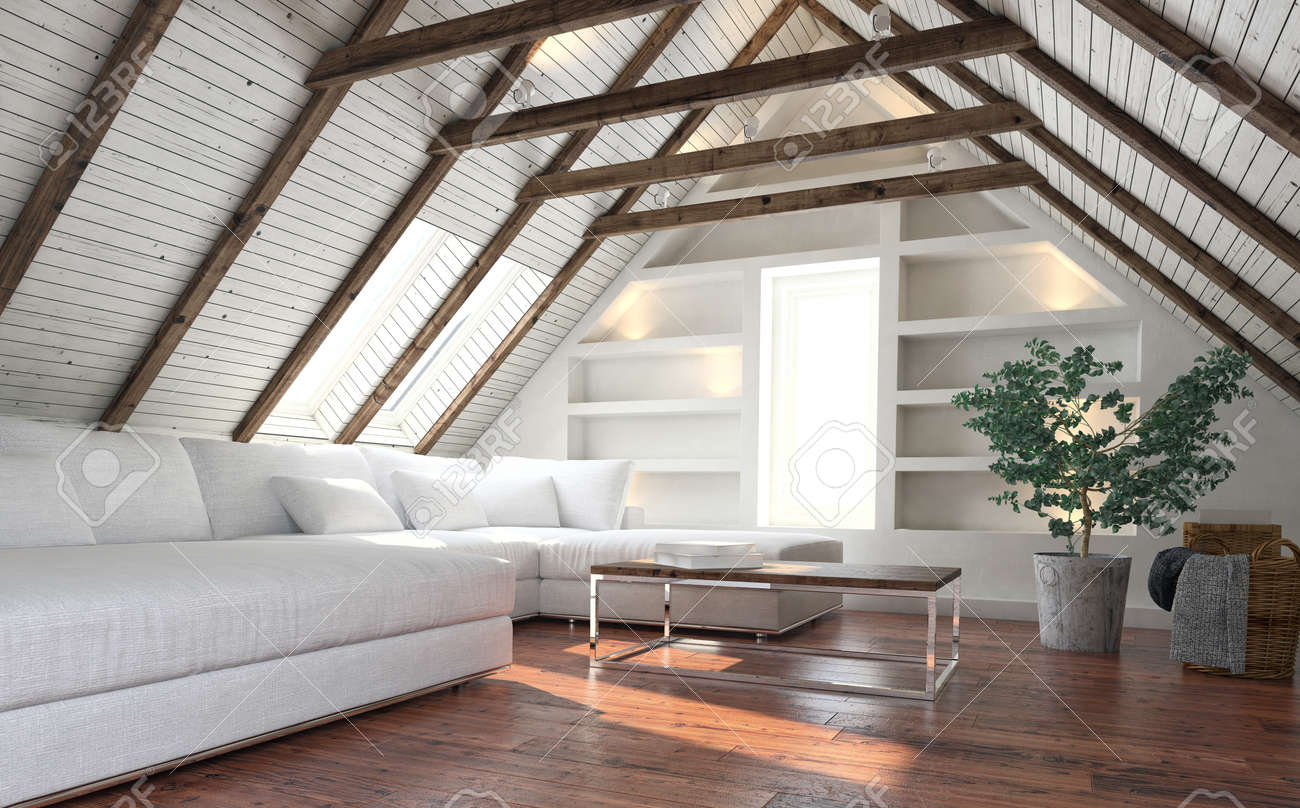 Awesome Attic Living Room Concept With Big White Couch And Potted Indoor Pdpeps Interior Chair Design Pdpepsorg