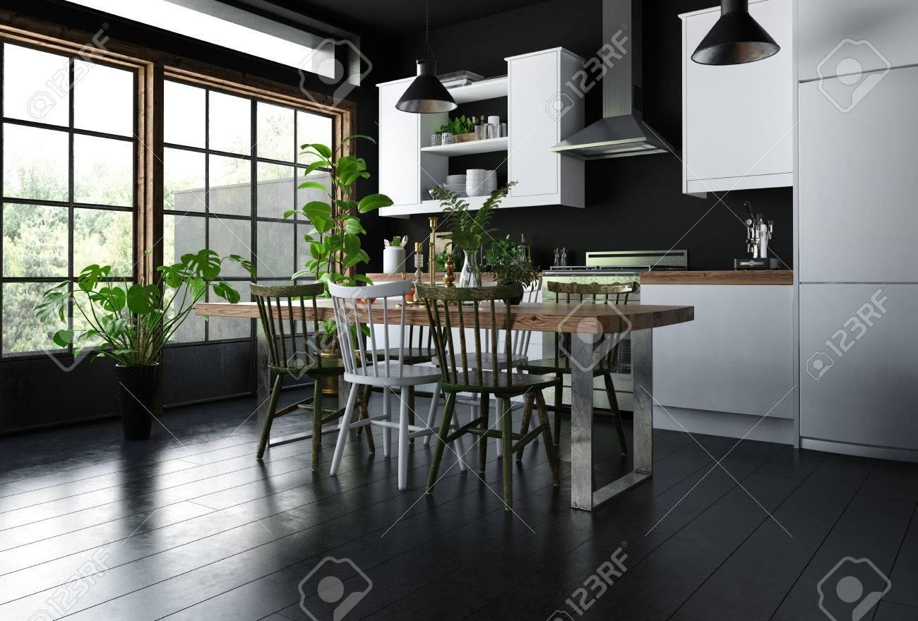 Innenraum Der Modernen Küche Mit Esstisch, Holzstühle Auf Schwarzem ...