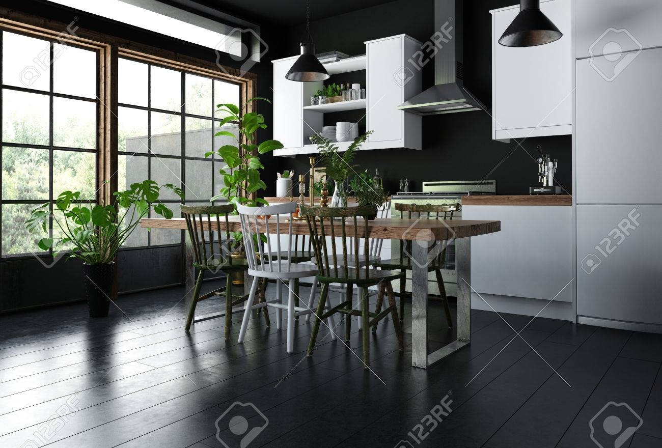 Interior Of Modern Kitchen With Dining Table, Wooden Chairs On Black Floor,  White Furniture