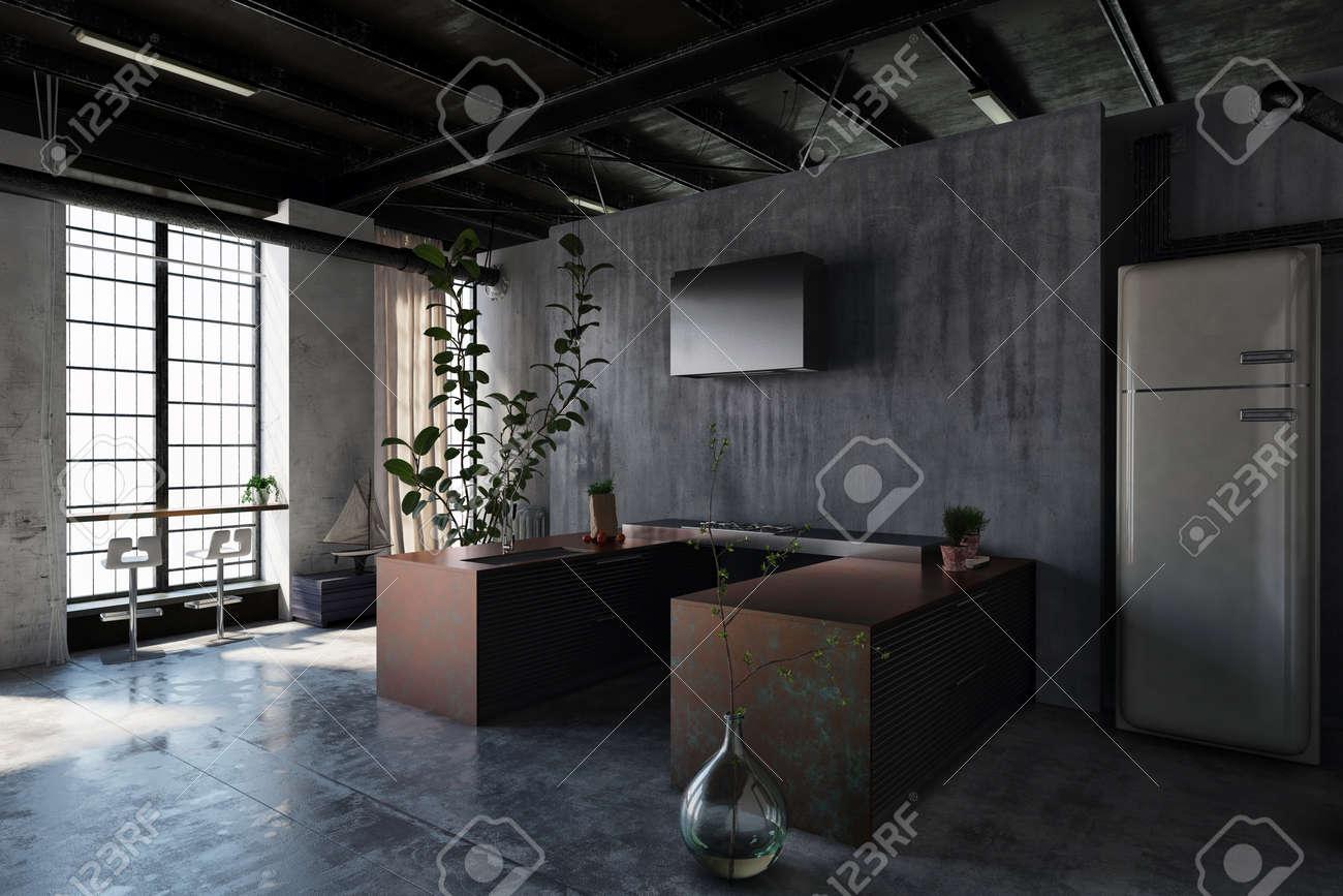 Plante Pour Cuisine Sombre intérieur sombre d'une cuisine moderne et minimaliste en style loft avec  tables marron, réfrigérateur, plantes décoratives et tabourets de bar  contre