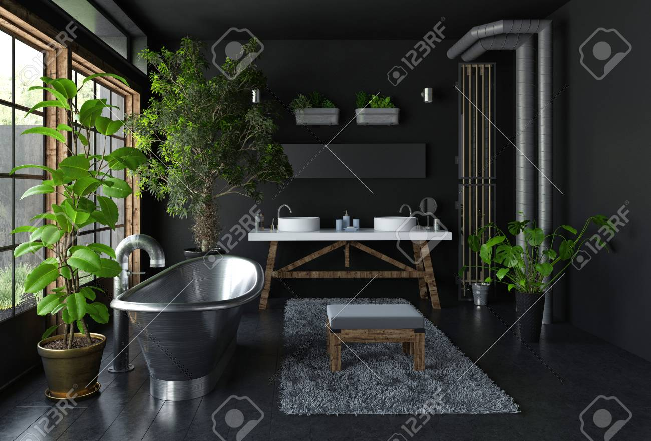 . Dark bathroom interior concept with shiny metal freestanding