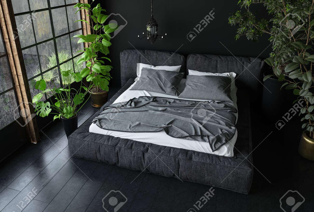 Lit king size en couleurs sombres dans une chambre à coucher avec design  d\'intérieur noir et plantes d\'intérieur, vue de dessus. Rendu 3D