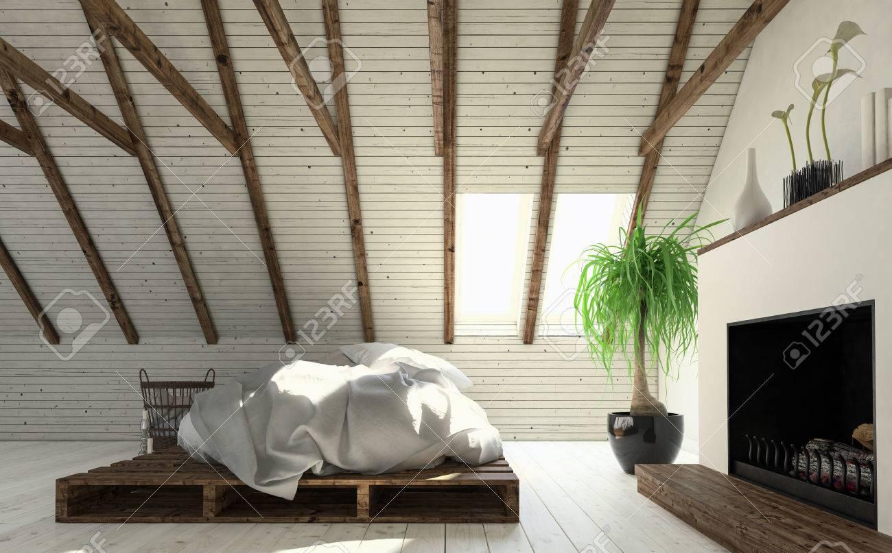 Licht dachboden schlafzimmer in weiß minimalistischen