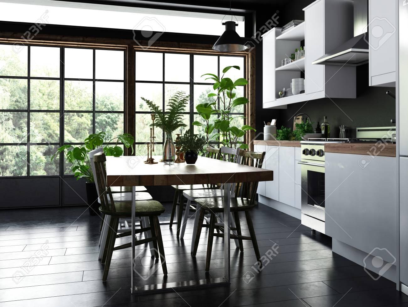 Esstisch Und Stühle In Einer Offenen Küche Mit Einbauschränken Und ...