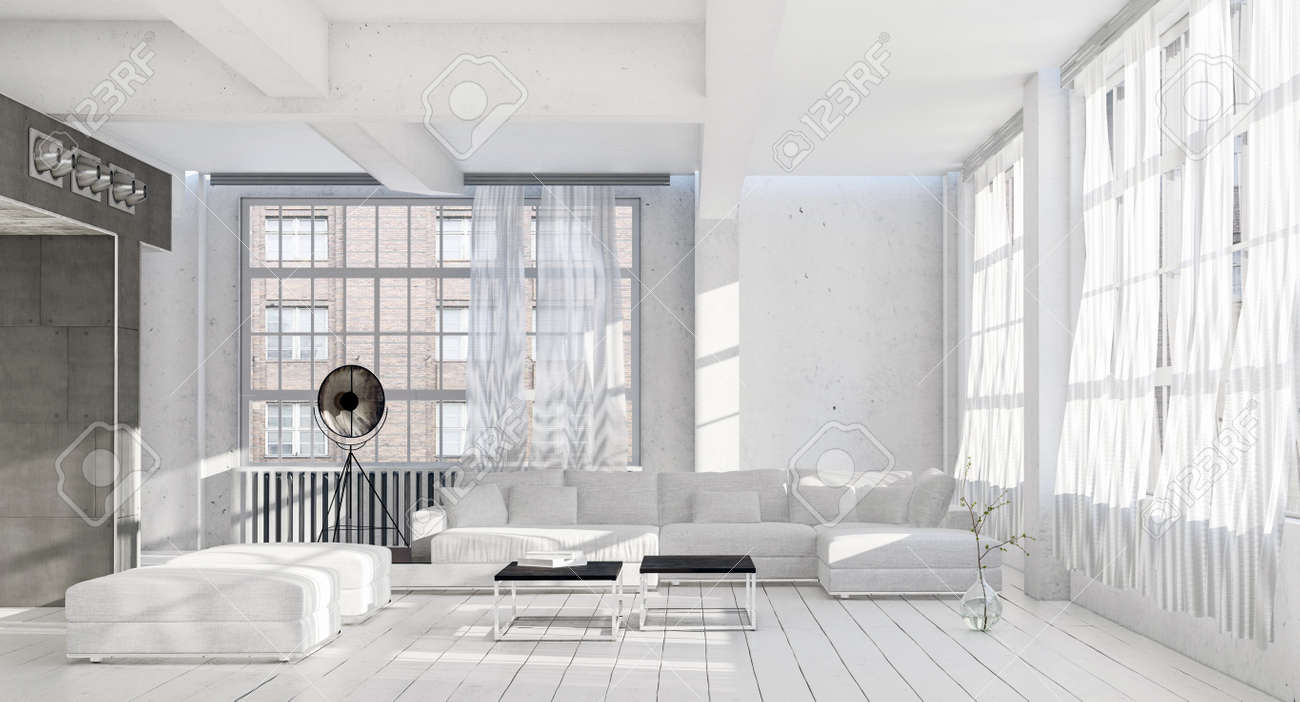 Bright Airy Cool Monochromatic White Living Room Interior With ...