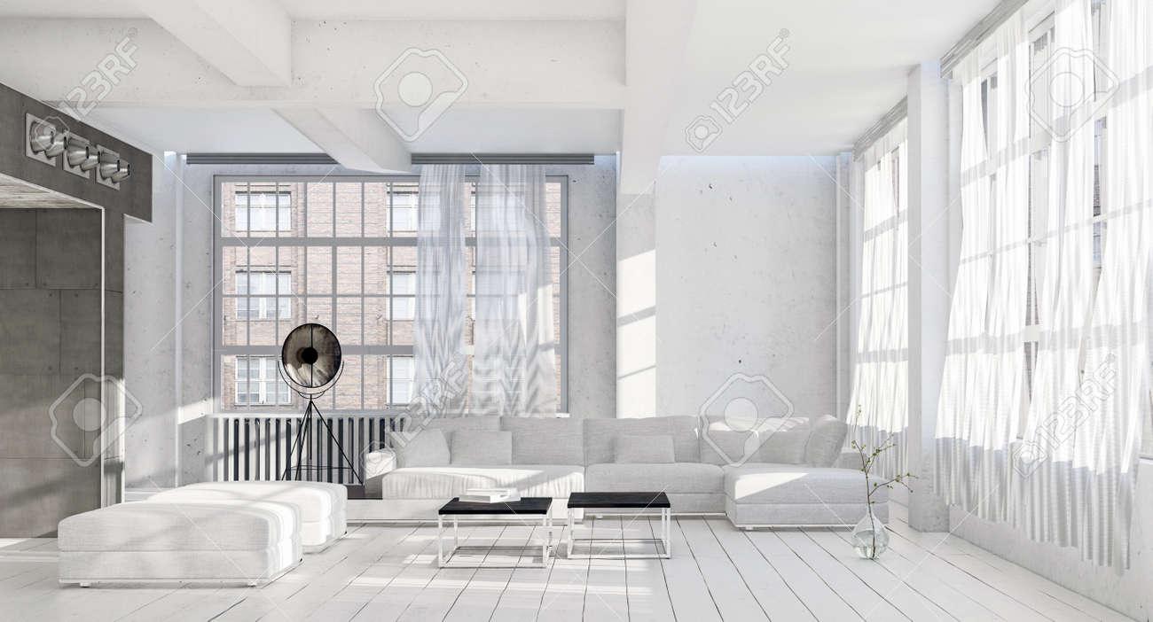 Luminoso, Fresco, Monocromático, Blanco, Interior De La Sala De ...