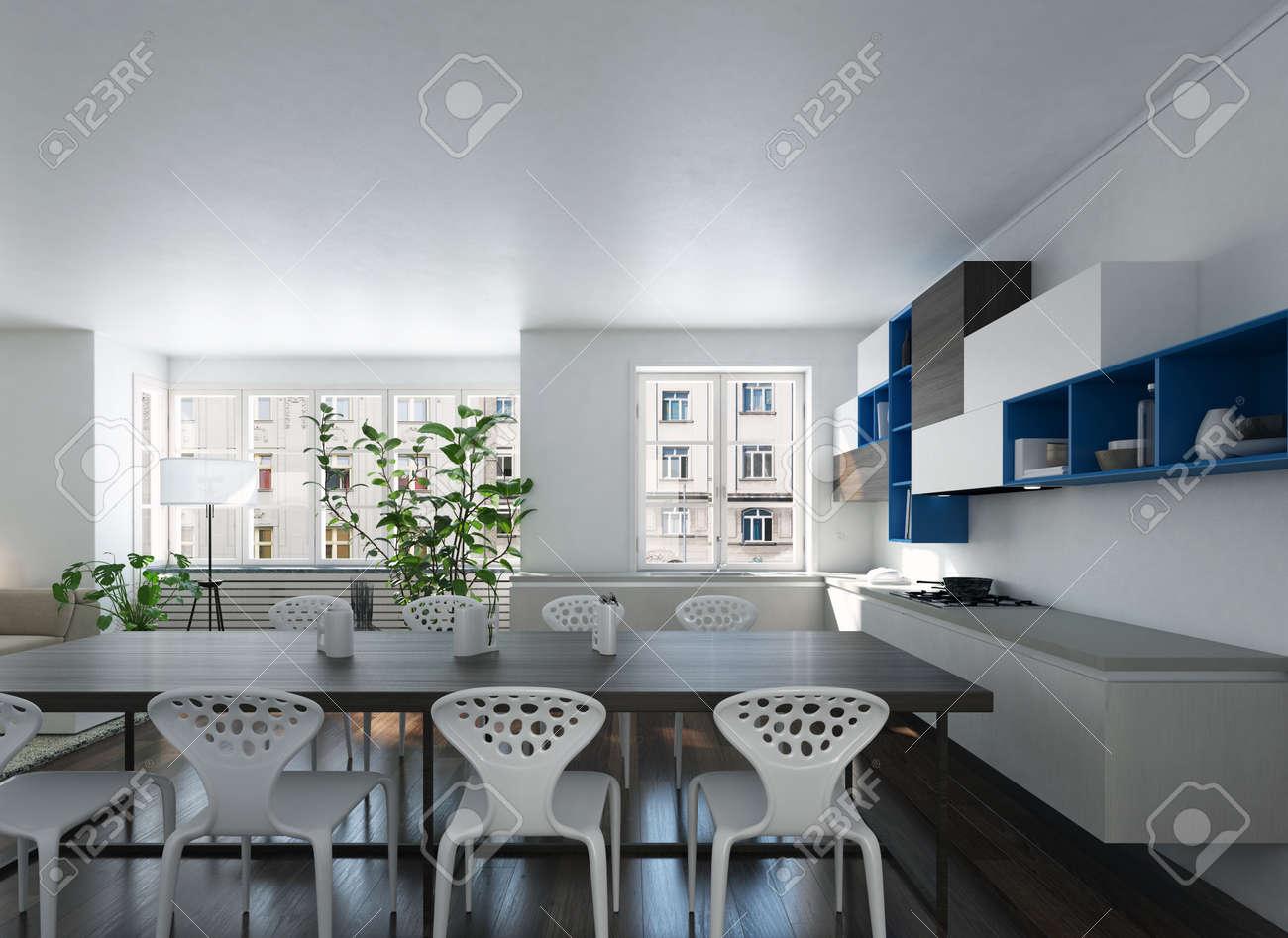 3d Render Von Einem Modernen Geräumigen Offene Küche Esszimmer Mit ...