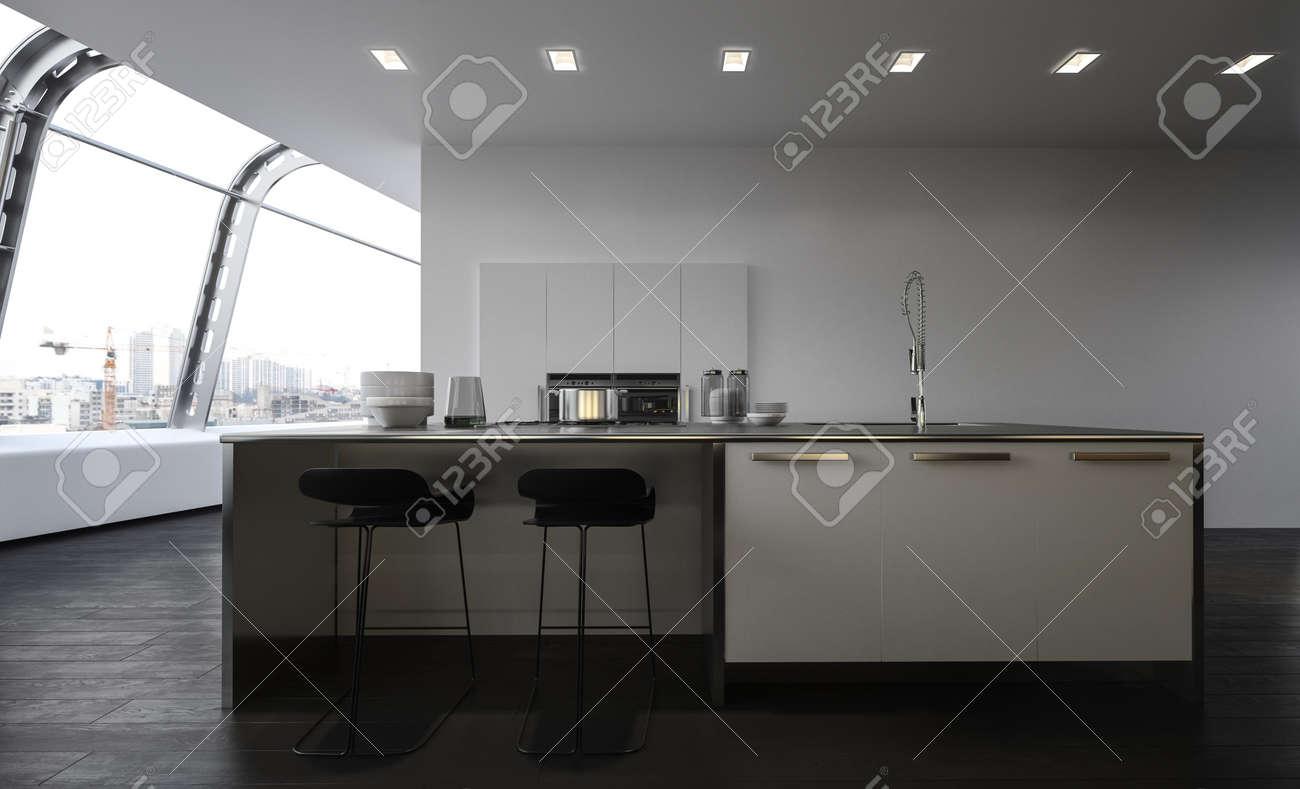 Cuisine ouverte moderne avec îlot central avec tabourets de bar, évier et  placards et appareils encastrés dans un grand appartement penthouse  spacieux ...