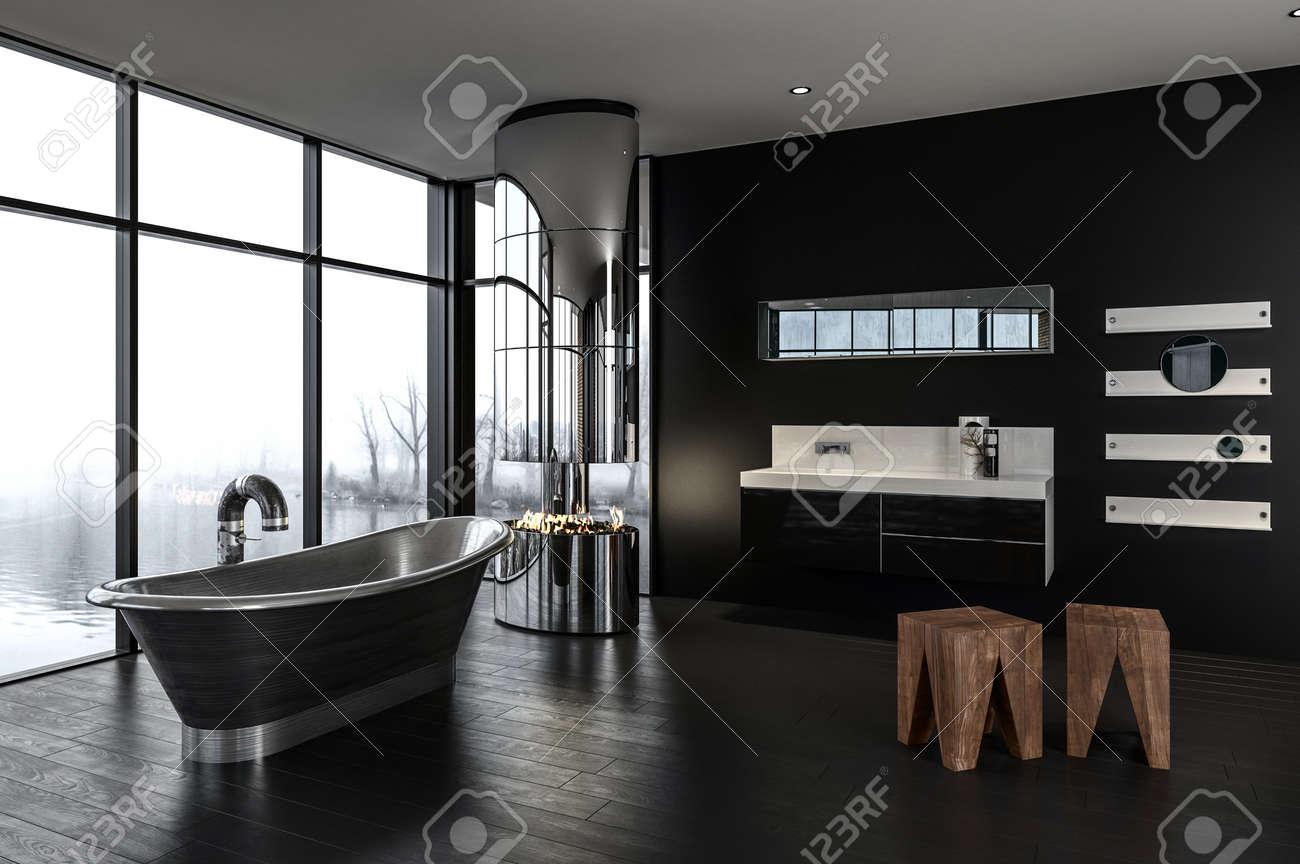 salle de bain de luxe avec feu brûlant dans une cheminée métallique