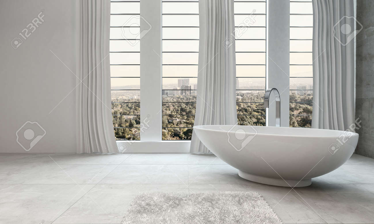 Légant Intérieur De Salle De Bain Blanc Moderne Avec Une Baignoire ...