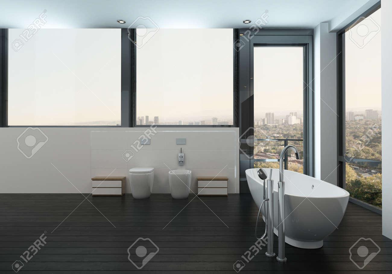 Baignoire Dans Une Salle De Bain Propre Et Moderne Avec Vue Sur La