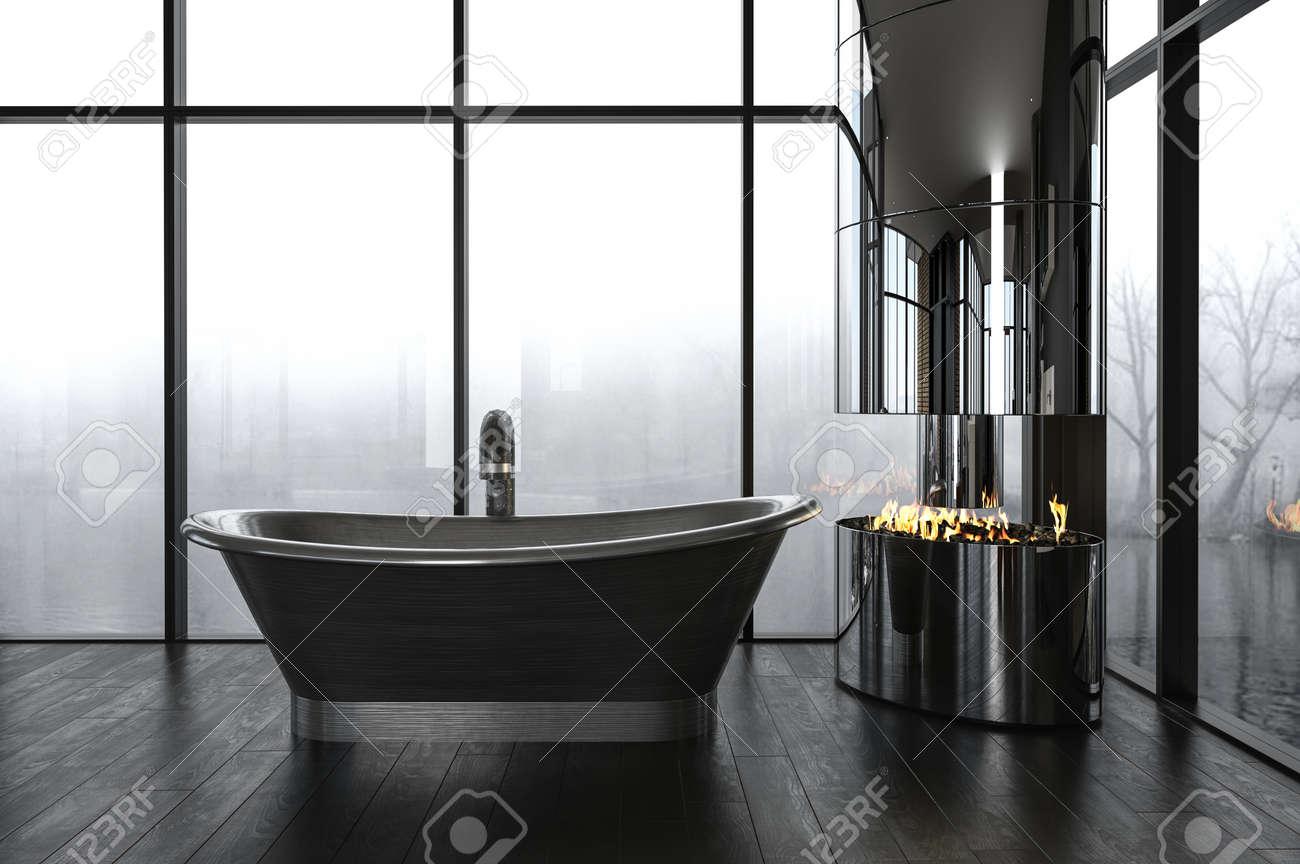 Luxury Bathroom With A Dark Boat-shaped Freestanding Bathtub.. Stock ...