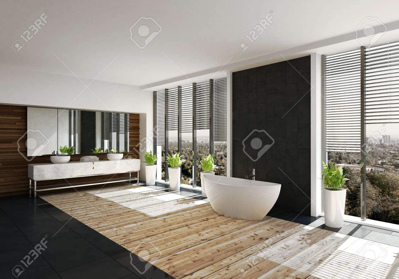 Modernes Badezimmer Mit Einer Schwarzen Wand Und Einem Boot Die Von
