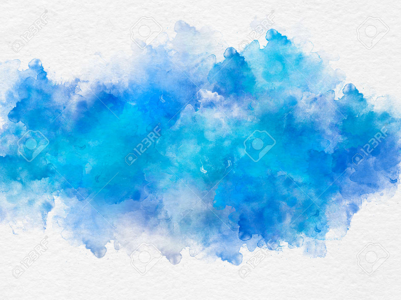 Artistic blue watercolor splash effect template on white background - 83938593