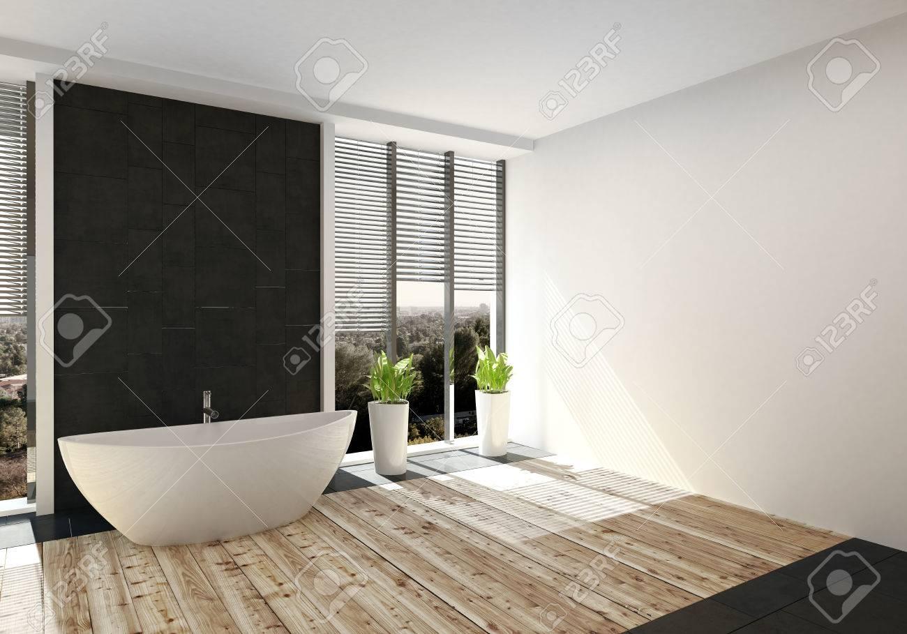 Salle de bain de luxe moderne avec plancher de bois clair et une baignoire  autoportante flanquée de grandes fenêtres avec des stores. Rendu 3D