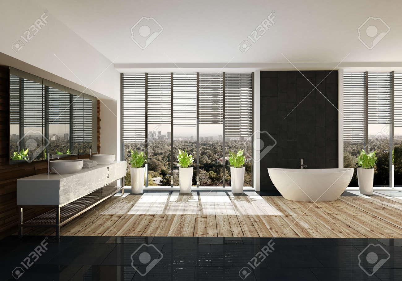Geräumiges Badezimmer Mit Stilvollem Dekor, Hellem Holzboden, Großer ...