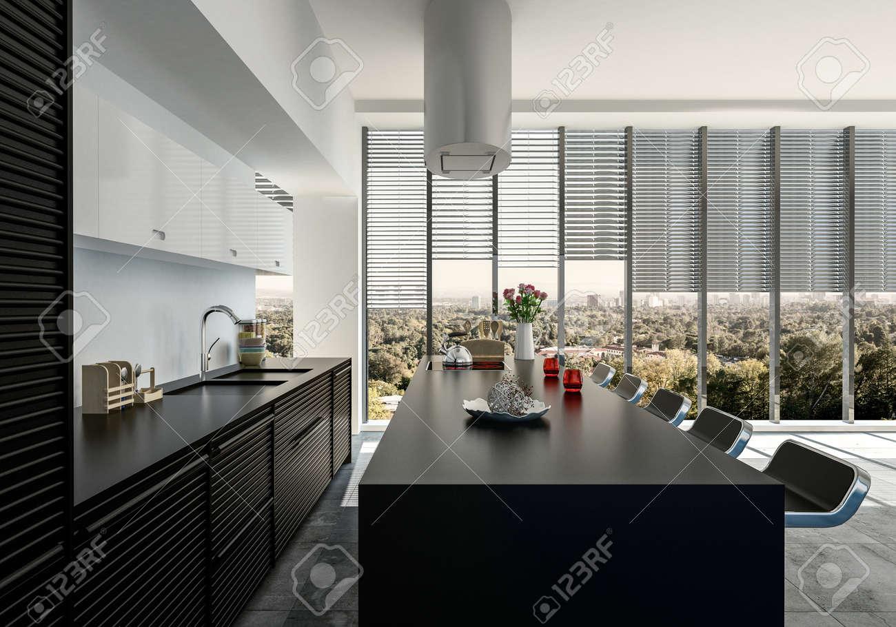 Einbauküche mit geräten  Stilvolle Offene Schwarze Und Weiße Einbauküche Mit Geräten Und ...