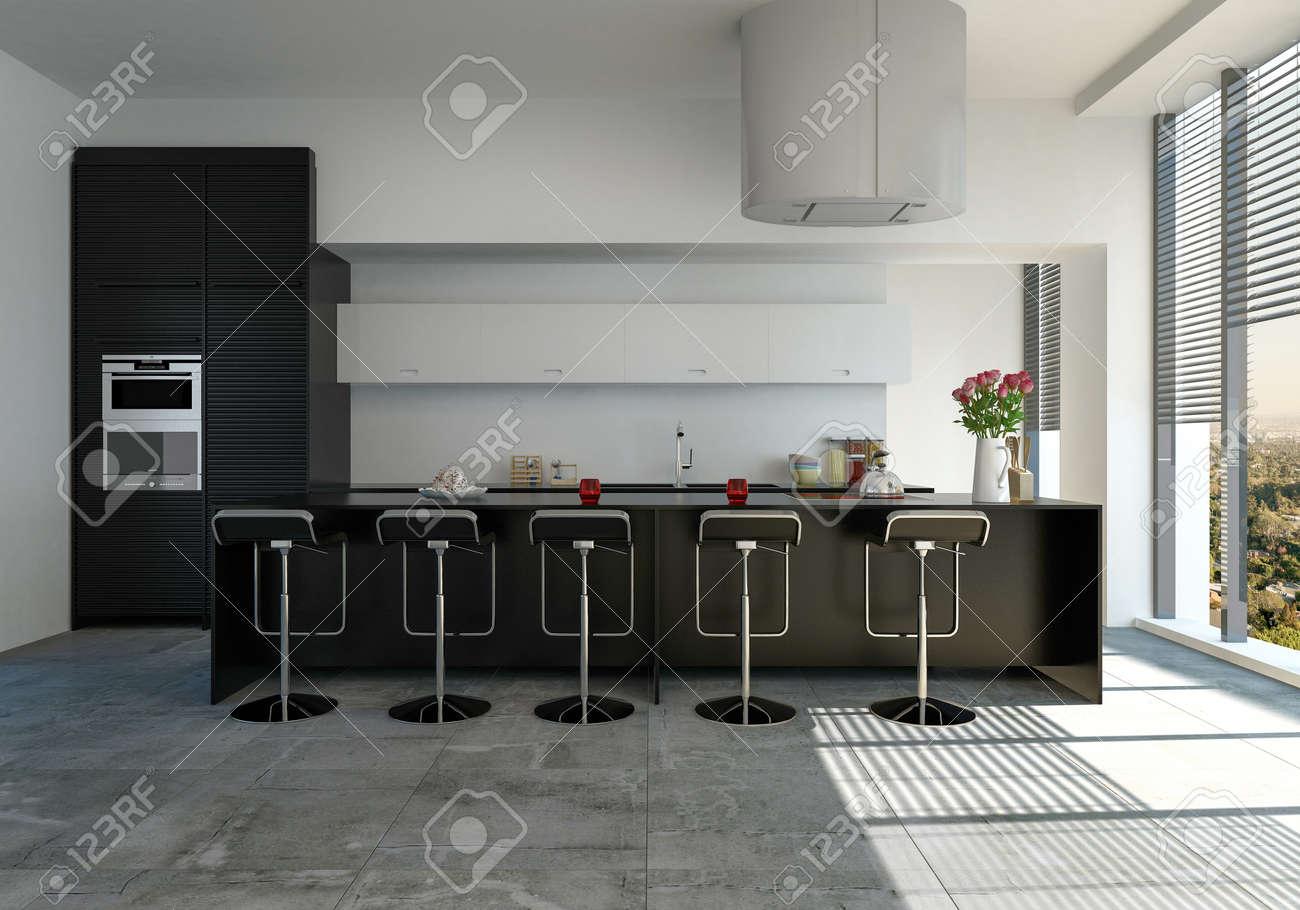 Cuisine Moderne Equipee Avec Comptoir De Bar Et Tabourets Noirs Et