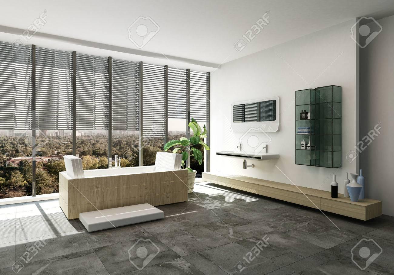 Banque Du0027images   Intérieur élégant De Salle De Bains Design Avec Baignoire  Rectangulaire Et Vanités Murales Devant Un Mur De Fenêtres Du Sol Au  Plafond ...