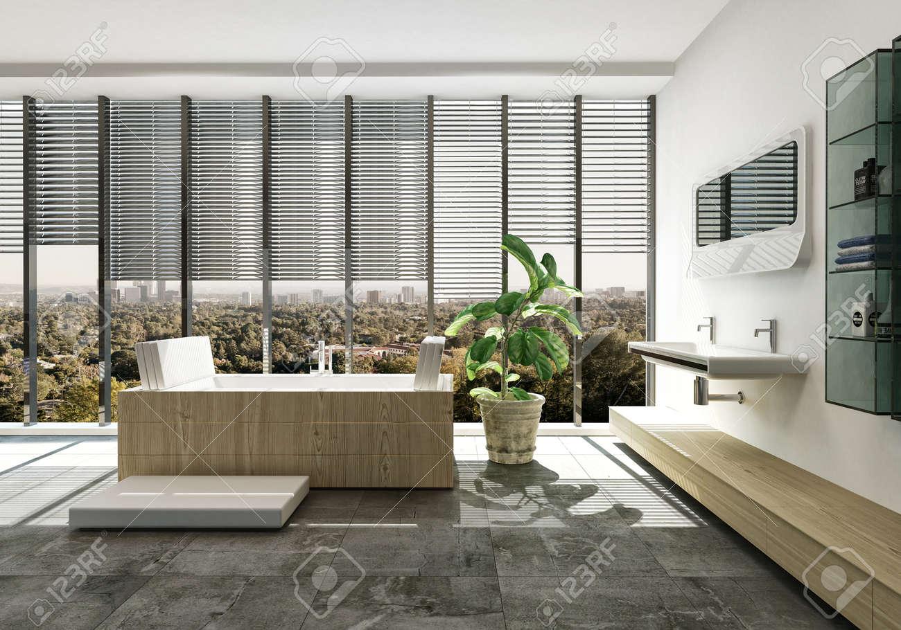 Sala Da Bagno Pianta : Elegante interni del bagno di lusso con vasca rettangolare