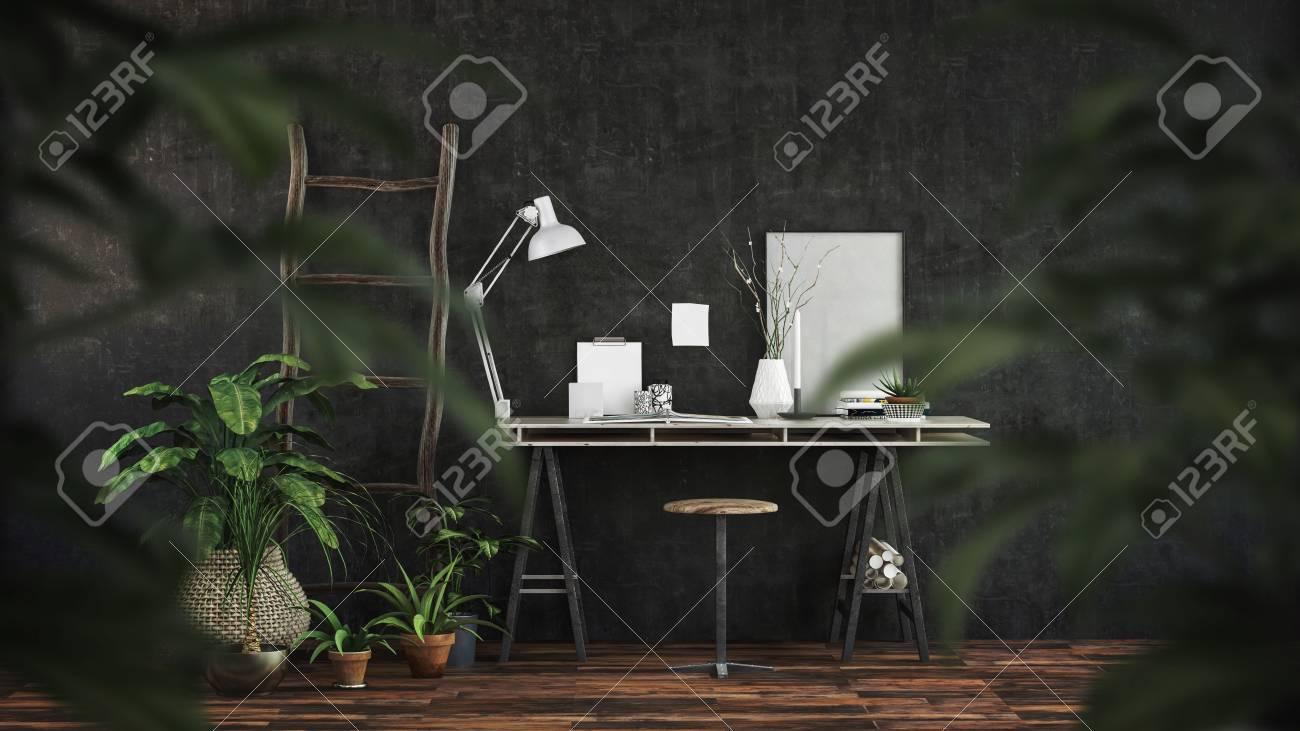 Intérieur de bureau noir moderne avec un bureau tréteau et un