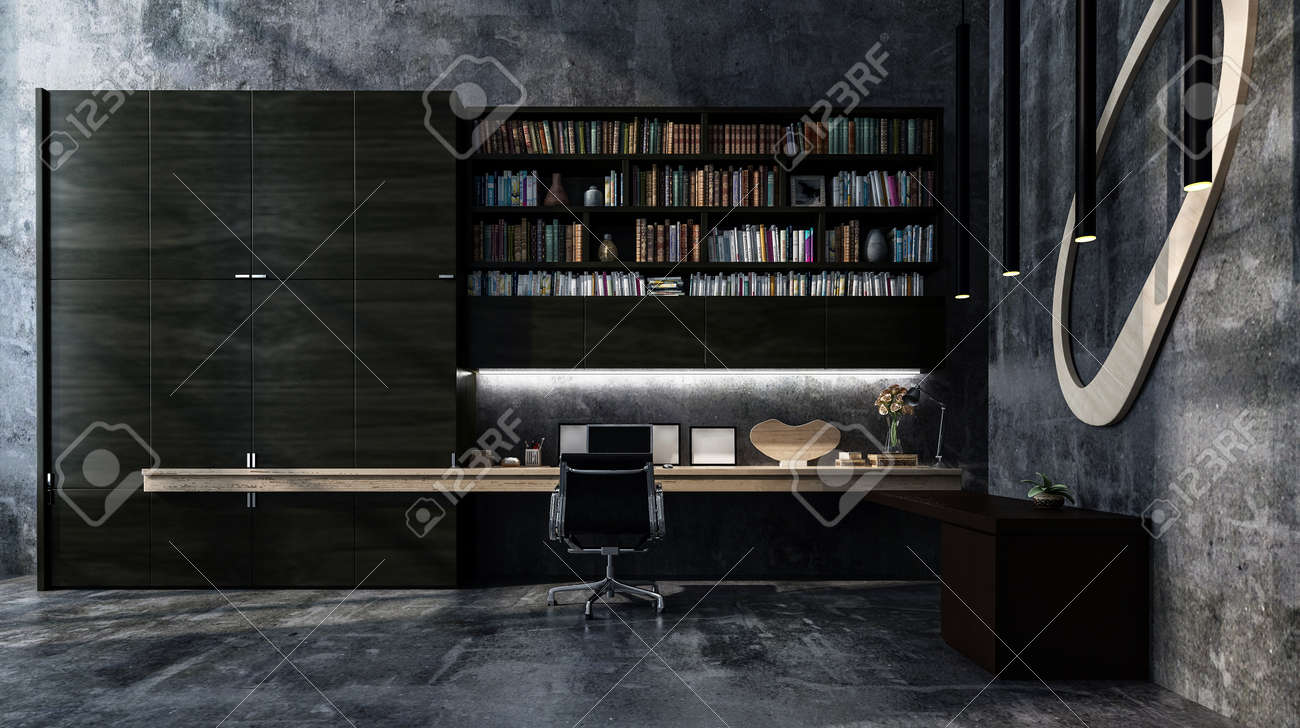 Intérieur de bureau moderne gris de luxe monochrome avec le long