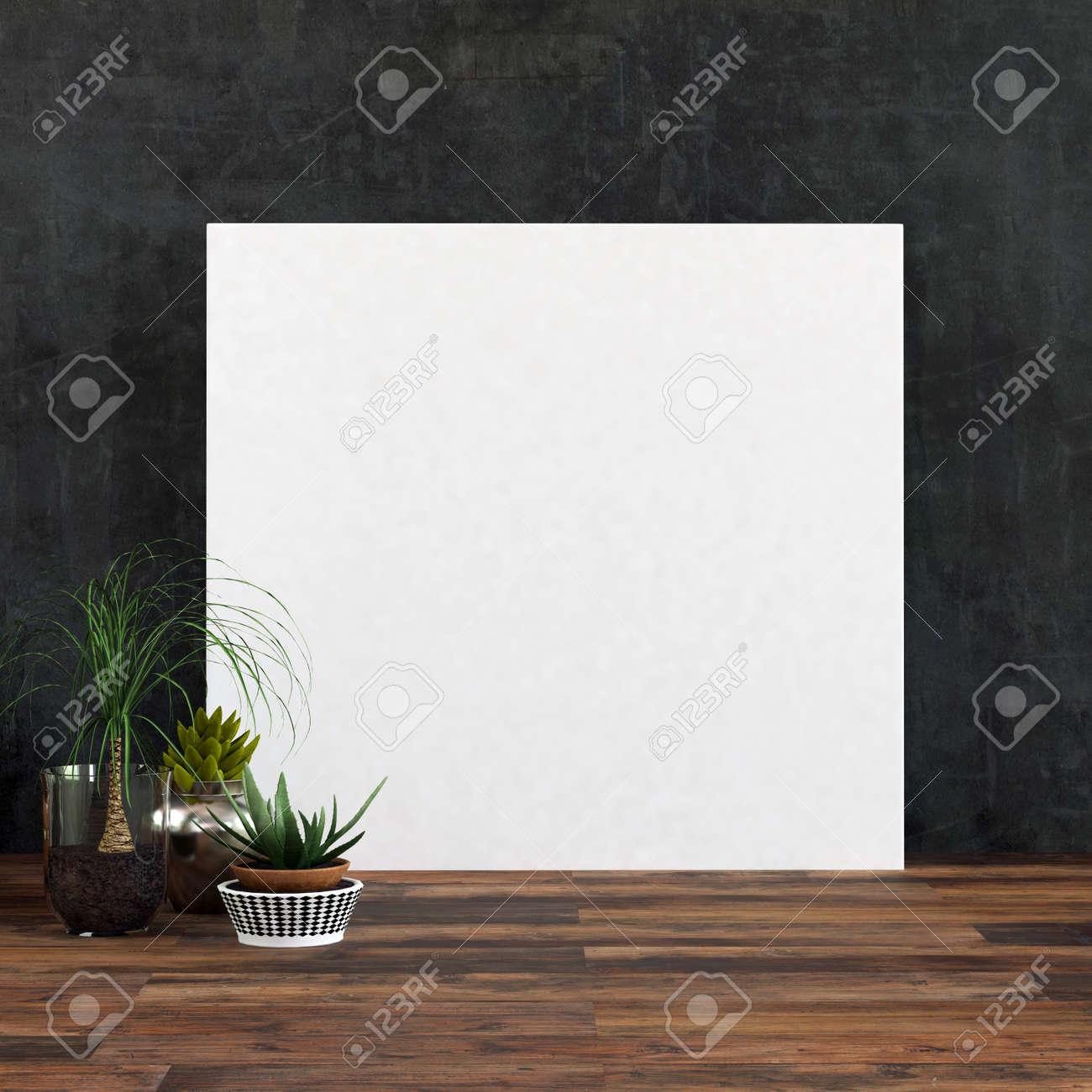 Großer Quadratischer Leerer Weißer Bilderrahmen Oder -segeltuch Auf ...