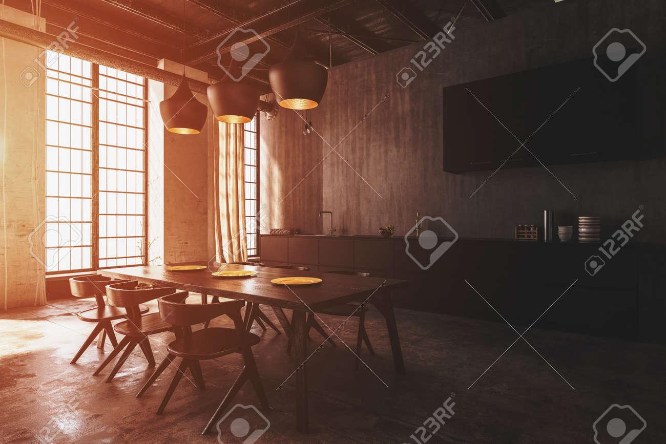 Moderne Esszimmer Interieur Mit Deckenleuchten Beleuchtet Einen Holztisch Und Moderne Stuhle Mit Warmem Sonnenlicht Durch Grosse Fenster 3d Render Lizenzfreie Fotos Bilder Und Stock Fotografie Image 86111973