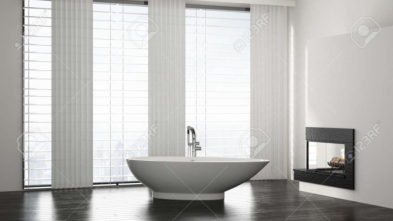 Minimalist Spacious Modern Bathroom Interior With Boat Shaped ...