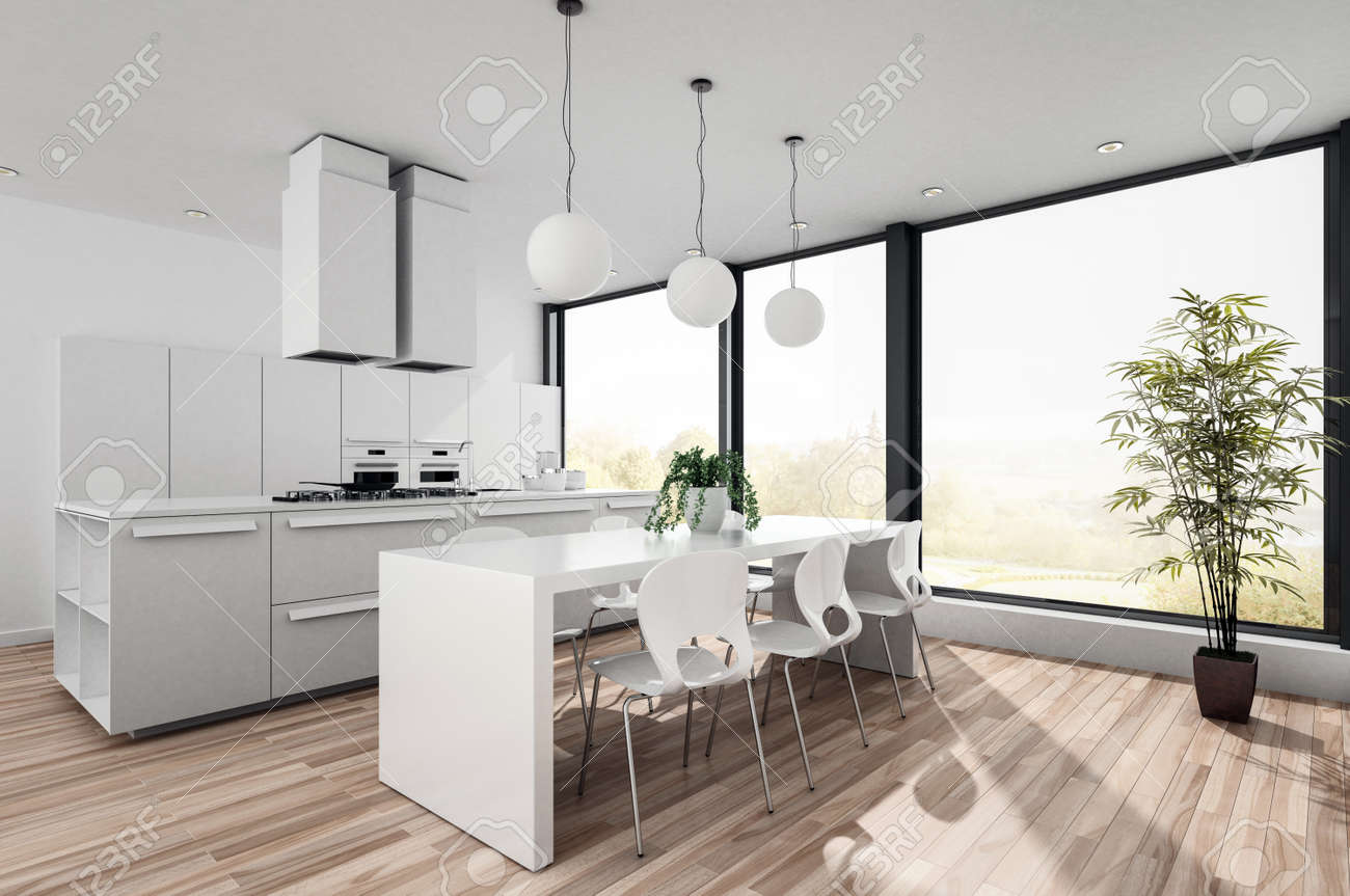 Cette petite cuisine américaine moderne est dotée d\'armoires encastrées,  d\'appareils électroménagers et d\'une table et de chaises modernes devant de  ...