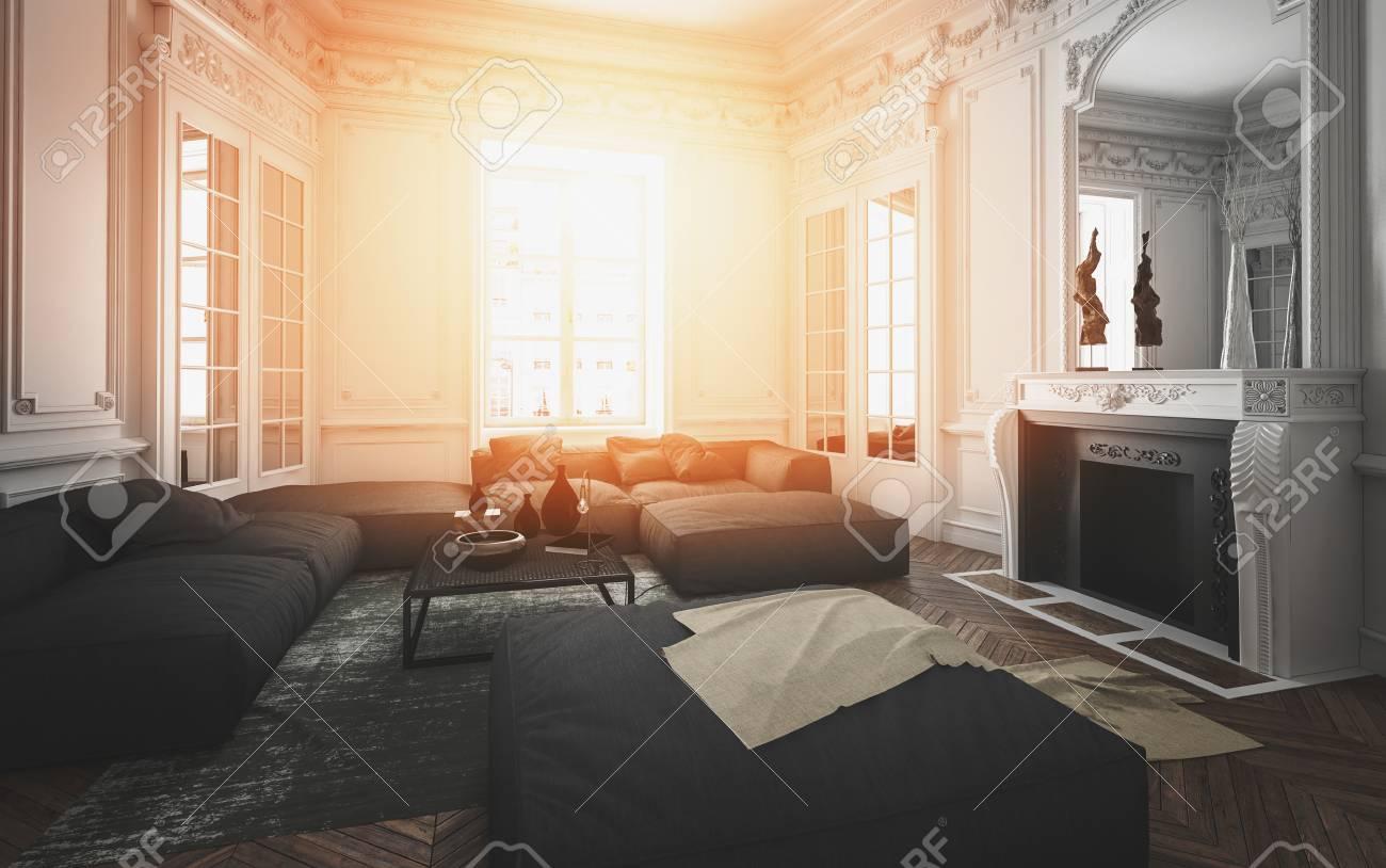 Acogedor Interior De La Sala De Estar Iluminado Por El Cálido ...