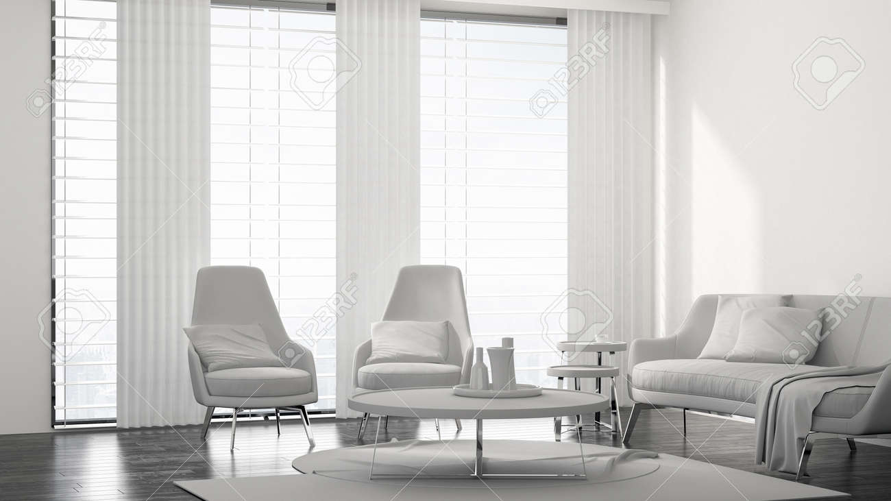 Fresh Monochromatic White Living Room Interior With A Modern